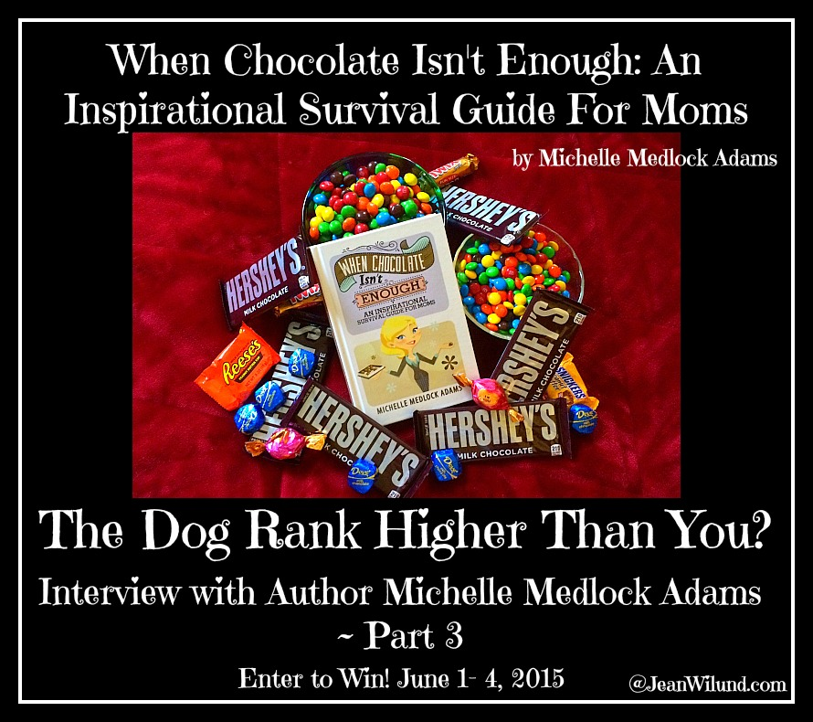 "Click to read: Does the Dog Rank Higher Than You?  An Interview with Michelle Adams Part 3, Author of ""When Chocolate Isn't Enough: An Inspirational Survival Guide for Moms"" Enter to win a copy of her book."