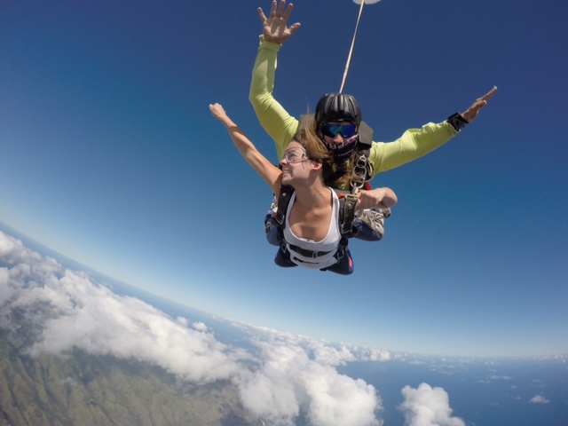 Carolyn skydiving. Take that leap of faith and touch the sky!