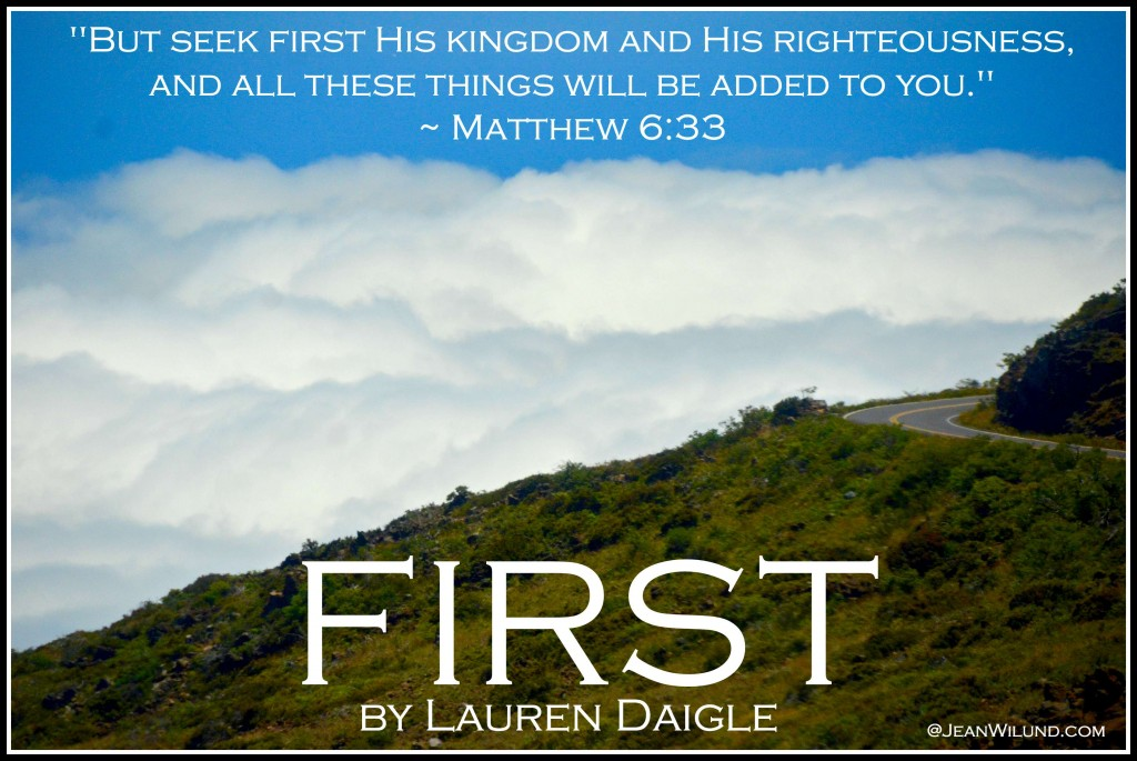 "Click to listen to ""First"" by Lauren Daigle and read ""Surviving a Broken Heart and the Dreaded Bleh's of Life!""  ~ Matthew 6:33"