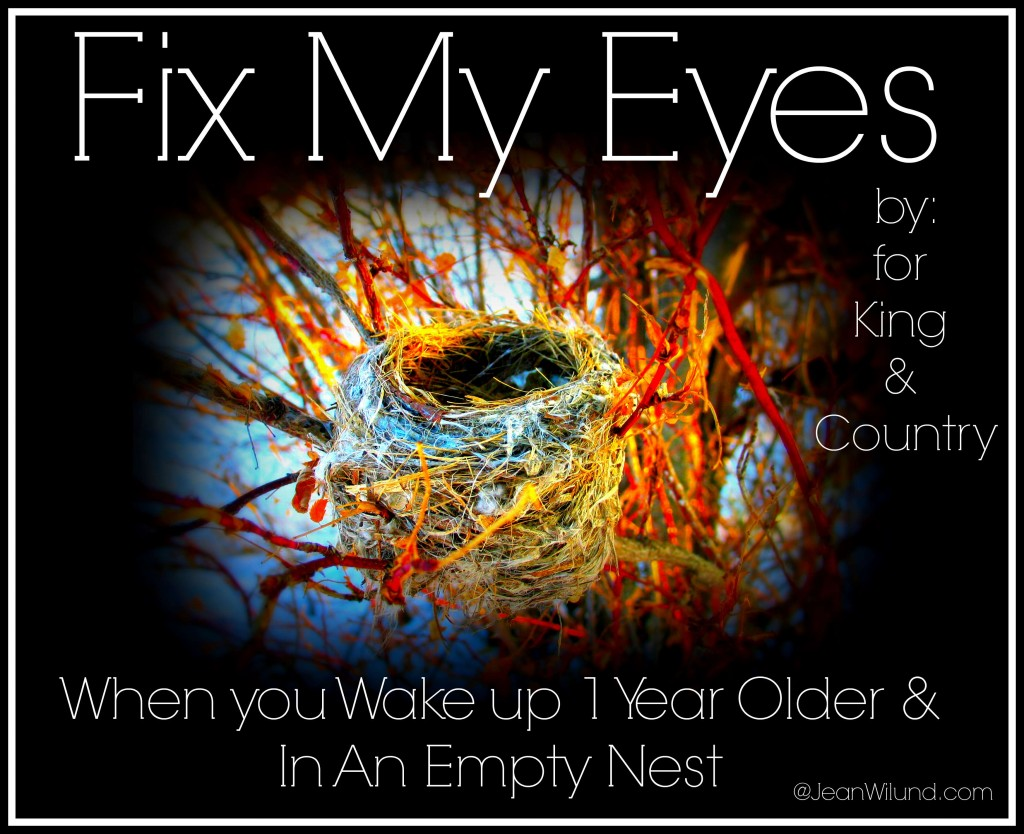 """Click to View Music Lyric Video: """"Fix My Eyes"""" by """"for King & Country"""" for when you wake up one year older and in an Empty Nest."""