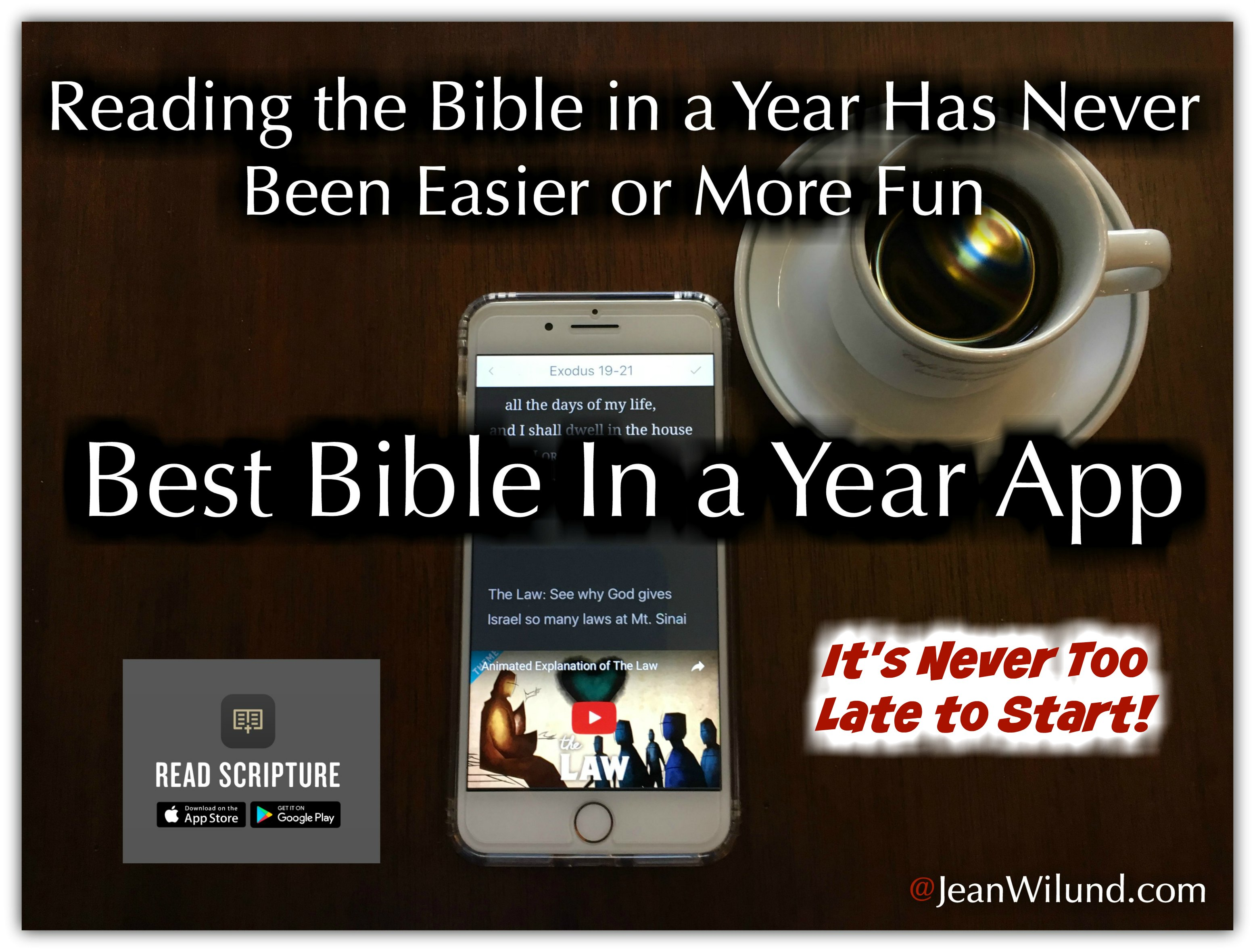 Bible Project's ReadScripture App makes reading the Bible in a Year easier and more fun. (www.JeanWilund.com)