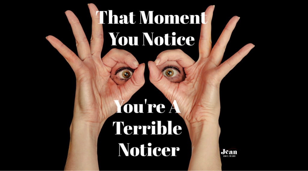 I set out to notice people and share God's love. It did NOT go as planned. Oops! Are you a terrible noticer, too? There's hope for us! by Jean Wilund